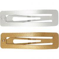 Haarspeld, L: 58 mm, B: 16 mm, goud, zilver, 4 stuk/ 1 doos