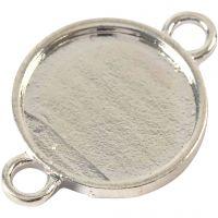 Cabochon spacer kraal, d: 15 mm, gatgrootte 2,5 mm, verzilverd, 25 stuk/ 1 doos