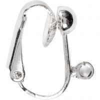 Clip-on oorbellen, L: 16,5 mm, B: 1,5 mm, gatgrootte 1,6 mm, verzilverd, 6 stuk/ 1 doos