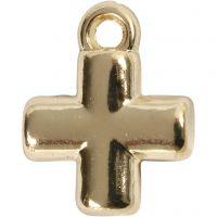 Kruis, afm 10x10 mm, gatgrootte 1,5 mm, verguld, 4 stuk/ 1 doos