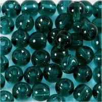 Glas kralen, d: 4 mm, gatgrootte 1 mm, groen, 45 stuk/ 1 streng