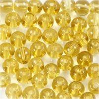 Glas kralen, d: 4 mm, gatgrootte 1 mm, geel, 45 stuk/ 1 streng