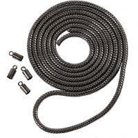 Slangenketting, d: 3,1 mm, donker metallic grijs, 1 m