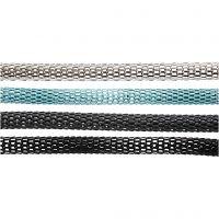 Ketting - Asortiment, d: 4,2 mm, zwart, donkergrijs, zilver, turquoise, 20x160 cm/ 1 doos