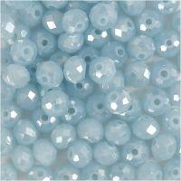 Facet kralen, afm 5x6 mm, gatgrootte 1 mm, Zeeblauw, 100 stuk/ 1 doos