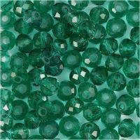 Facet kralen, afm 5x6 mm, gatgrootte 1 mm, emerald green, 100 stuk/ 1 doos