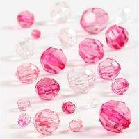Facetkralen mix, afm 4-12 mm, gatgrootte 1-2,5 mm, roze, 45 gr/ 1 doos
