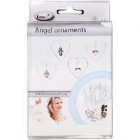 Engel ornamenten, H: 3,5 cm, 8 stuk/ 1 doos