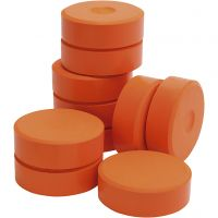 Tempera verfblokken, H: 19 mm, d: 57 mm, oranje, 10 stuk/ 1 doos