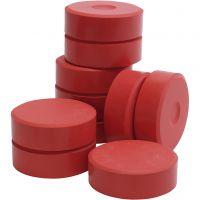 Tempera verfblokken, H: 19 mm, d: 57 mm, rood, 10 stuk/ 1 doos