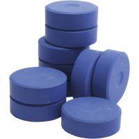 Tempera verfblokken, H: 19 mm, d: 57 mm, blauw, 10 stuk/ 1 doos