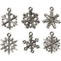 Sneeuwvlok, H: 20 mm, gatgrootte 1,5 mm, antiek zilver, 18 div/ 1 doos