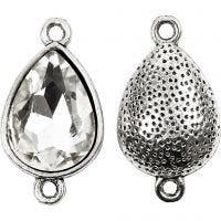 Hanger met kristal, H: 28 mm, gatgrootte 2 mm, antiek zilver, 3 stuk/ 1 doos