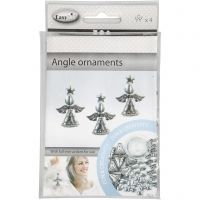 Engelen ornamenten, H: 5,5 cm, antiek zilver, 4 stuk/ 1 doos
