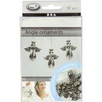 Engel ornamenten, H: 5,5 cm, B: 4,5 cm, zilver, 4 stuk/ 1 doos