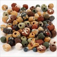 Keramiek kralen, afm 7-18 mm, gatgrootte 2-4 mm, diverse kleuren, 300 gr/ 1 doos