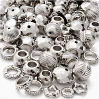 Zilver mix, afm 5-20 mm, gatgrootte 2-6 mm, 155 gr/ 1 doos