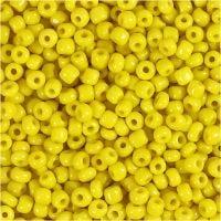 Rocailles, d: 3 mm, afm 8/0 , gatgrootte 0,6-1,0 mm, geel, 25 gr/ 1 doos
