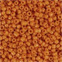 Rocailles, d: 3 mm, afm 8/0 , gatgrootte 0,6-1,0 mm, oranje, 25 gr/ 1 doos