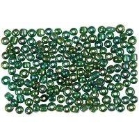 Rocailles, d: 3 mm, afm 8/0 , gatgrootte 0,6-1,0 mm, groen glans, 500 gr/ 1 doos