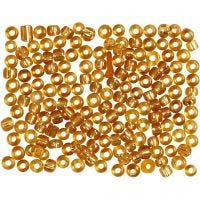 Rocailles, d: 3 mm, afm 8/0 , gatgrootte 0,6-1,0 mm, goud, 500 gr/ 1 doos