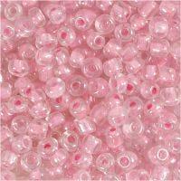 Rocailles, d: 4 mm, afm 6/0 , gatgrootte 0,9-1,2 mm, roze kern, 25 gr/ 1 doos