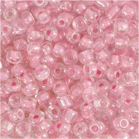 Rocailles, d: 4 mm, afm 6/0 , gatgrootte 0,9-1,2 mm, roze kern, 500 gr/ 1 doos