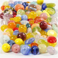 Glazen kralen, rond, ovaal, cirkel, d: 6-13 mm, gatgrootte 0,5-1,5 mm, diverse kleuren, 350 gr/ 1 doos