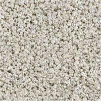 Rocailles, d: 1,7 mm, afm 15/0 , gatgrootte 0,5-0,8 mm, silver metal, 25 gr/ 1 doos