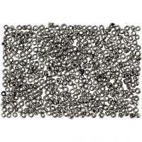 Rocailles, d: 1,7 mm, afm 15/0 , gatgrootte 0,5-0,8 mm, grey metal, 500 gr/ 1 zak