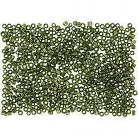 Rocailles, d: 1,7 mm, afm 15/0 , gatgrootte 0,5-0,8 mm, gras groen, 500 gr/ 1 zak