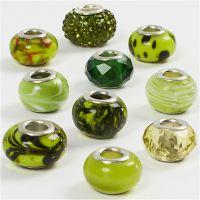 Glas link kralen, d: 13-15 mm, gatgrootte 4,5-5 mm, groen glitter, 10 div/ 1 doos