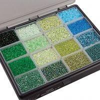 Rocailles, d: 3+4 mm, afm 6/0+8/0 , gatgrootte 0,6-1,0+0,9-1,2 mm, diverse kleuren, 16x100 gr/ 1 doos