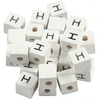 Letterkralen, H, afm 8x8 mm, gatgrootte 3 mm, wit, 25 stuk/ 1 doos