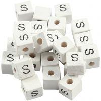Letterkralen, S, afm 8x8 mm, gatgrootte 3 mm, wit, 25 stuk/ 1 doos