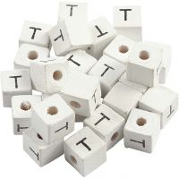 Letterkralen, T, afm 8x8 mm, gatgrootte 3 mm, wit, 25 stuk/ 1 doos