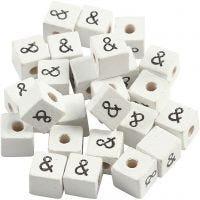 Letterkralen, &, afm 8x8 mm, gatgrootte 3 mm, wit, 25 stuk/ 1 doos