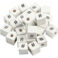 Letterkralen, #, afm 8x8 mm, gatgrootte 3 mm, wit, 25 stuk/ 1 doos