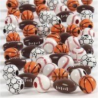 Sport kralen, afm 11-15 mm, gatgrootte 3-4 mm, diverse kleuren, 45 gr/ 1 doos