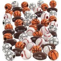 Sport kralen, afm 11-15 mm, gatgrootte 3-4 mm, diverse kleuren, 270 gr/ 1 doos