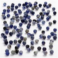 Steenkralen, d: 3 mm, gatgrootte 0,5-0,7 mm, blauw, 120 stuk/ 1 doos