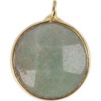 Sieradenhanger, Halfedelsteen: groene amazoniet, d: 15 mm, gatgrootte 2 mm, groen, 1 stuk