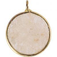 Sieradenhanger, Halfedelsteen: beige jadesteen, d: 15 mm, gatgrootte 2 mm, beige, 1 stuk