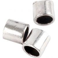 Knijpkralen tube, afm 2x2 mm, gatgrootte 1,4 mm, verzilverd, 80 stuk/ 1 doos
