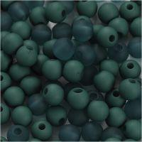 Plastic Kralen, d: 6 mm, gatgrootte 2 mm, flessengroen, 40 gr/ 1 doos