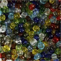 Rocailles, d: 4 mm, afm 6/0 , gatgrootte 0,9-1,2 mm, Transparant glans, 130 gr/ 1 doos