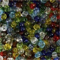 Rocailles, d: 4 mm, afm 6/0 , gatgrootte 0,9-1,2 mm, Transparant glans, 1000 gr/ 1 doos
