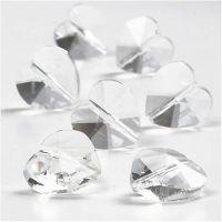 Kristal kralen, hartvormig, afm 14 mm, gatgrootte 1 mm, Transparant glans, 30 stuk/ 1 doos
