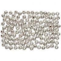 Kralen, d: 3 mm, gatgrootte 0,7 mm, zilver, 150 stuk/ 1 doos