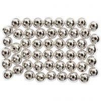 Kralen, d: 5 mm, gatgrootte 0,7 mm, zilver, 100 stuk/ 1 doos